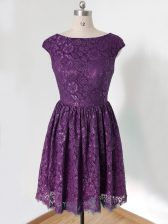 Popular Empire Quinceanera Court Dresses Dark Purple Scoop Lace Sleeveless Knee Length Lace Up