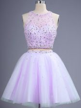 Lavender Lace Up Scoop Beading Dama Dress for Quinceanera Tulle Sleeveless