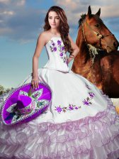 Discount White Strapless Lace Up Embroidery and Ruffled Layers 15 Quinceanera Dress Sleeveless