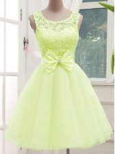 Top Selling Tulle Sleeveless Knee Length Court Dresses for Sweet 16 and Lace and Bowknot