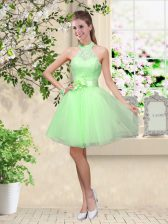 Superior Lace Up Quinceanera Court Dresses Lace and Belt Sleeveless Knee Length