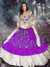 Exquisite Floor Length Ball Gowns Sleeveless Eggplant Purple Quinceanera Dress Lace Up