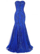Sleeveless Brush Train Lace Up Sequins Prom Dresses