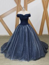 Traditional Navy Blue Sleeveless Brush Train Ruching Prom Party Dress