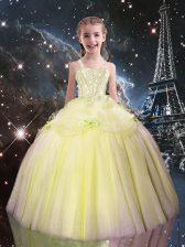 Light Yellow Sleeveless Beading Floor Length Kids Pageant Dress