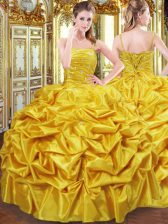 Enchanting Floor Length Gold Ball Gown Prom Dress Taffeta Sleeveless Beading and Pick Ups