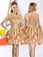 Champagne Bateau Backless Beading and Lace and Ruffles Dama Dress for Quinceanera Sleeveless