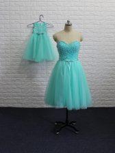 Amazing Aqua Blue Tulle Lace Up Sweetheart Sleeveless Mini Length Prom Gown Beading