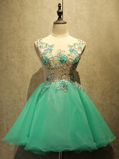 Sleeveless Mini Length Embroidery Lace Up Prom Gown with Green