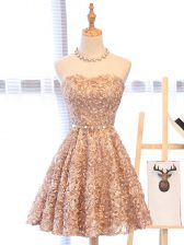 Trendy Mini Length Champagne Dress for Prom Organza Sleeveless Belt