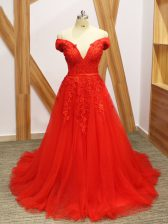 Adorable Coral Red A-line Off The Shoulder Sleeveless Tulle Brush Train Lace Up Lace and Appliques Evening Dress