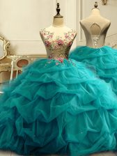 Elegant Floor Length Lace Up 15 Quinceanera Dress Teal for Military Ball and Sweet 16 and Quinceanera with Appliques and Ruffles and Sequins