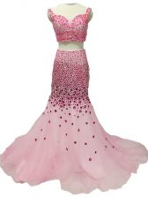Deluxe Baby Pink Tulle Zipper Prom Evening Gown Sleeveless Brush Train Beading