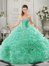 Ideal Beading and Ruffles Sweet 16 Dress Apple Green Lace Up Sleeveless Court Train