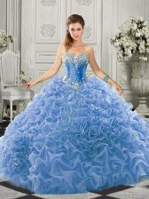 Wonderful Light Blue Lace Up Sweetheart Beading and Ruffles Vestidos de Quinceanera Organza Sleeveless Court Train