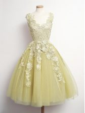 Custom Designed Yellow Tulle Lace Up Court Dresses for Sweet 16 Sleeveless Knee Length Appliques