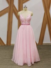 Extravagant Baby Pink A-line Chiffon V-neck Sleeveless Beading and Embroidery Floor Length Zipper Dress for Prom