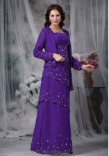 Traditional Beading Prom Gown Eggplant Purple Zipper Sleeveless Floor Length