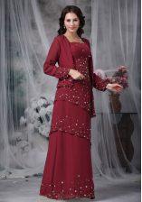 Glamorous Burgundy Chiffon Zipper Straps Sleeveless Floor Length Evening Dress Beading