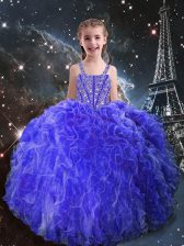 Eggplant Purple Straps Neckline Beading and Ruffles Little Girl Pageant Gowns Sleeveless Lace Up