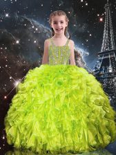 Graceful Beading and Ruffles Little Girl Pageant Dress Yellow Green Lace Up Sleeveless Floor Length