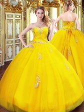 Gold Ball Gowns Sweetheart Sleeveless Tulle Floor Length Lace Up Beading and Appliques Quinceanera Dress