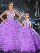 Pretty Floor Length Ball Gowns Sleeveless Lavender Quinceanera Dress Lace Up