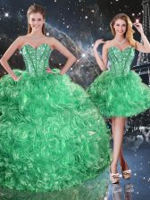 Vintage Sweetheart Sleeveless Lace Up 15 Quinceanera Dress Green Organza