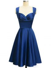 Sleeveless Lace Up Knee Length Ruching Dama Dress for Quinceanera