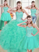 Fashion Brush Train Three Pieces 15 Quinceanera Dress Turquoise Sweetheart Organza Sleeveless Lace Up