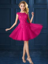 Fashionable Fuchsia Cap Sleeves Lace and Belt Knee Length Dama Dress for Quinceanera