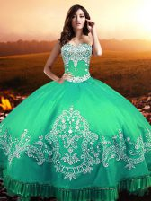 Romantic Turquoise Sleeveless Floor Length Beading and Appliques Lace Up Sweet 16 Dress