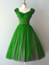 A-line Vestidos de Damas Green V-neck Chiffon Cap Sleeves Knee Length Lace Up