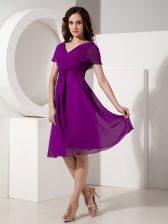 Decent Eggplant Purple Chiffon Zipper Homecoming Dress Short Sleeves Knee Length Ruching