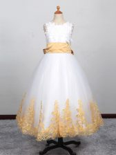 Floor Length White Kids Pageant Dress Scoop Sleeveless Lace Up
