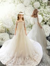 Half Sleeves Tulle Court Train Clasp Handle Flower Girl Dresses for Less in White with Lace