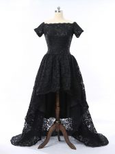 Low Price Black Short Sleeves High Low Lace Zipper