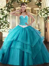 Teal Ball Gowns Sweetheart Sleeveless Tulle Floor Length Lace Up Appliques and Ruffled Layers Sweet 16 Quinceanera Dress