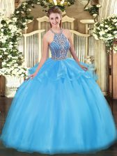 Comfortable Sleeveless Tulle Floor Length Lace Up 15th Birthday Dress in Aqua Blue with Beading and Ruffles
