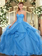 Best Selling Floor Length Baby Blue Quinceanera Dress Sweetheart Sleeveless Lace Up
