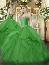 Discount Green Ball Gowns Tulle Sweetheart Sleeveless Beading and Ruffles Floor Length Lace Up Vestidos de Quinceanera