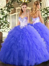 Suitable Blue Sleeveless Tulle Lace Up Quinceanera Gown for Military Ball and Sweet 16 and Quinceanera