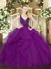 Luxurious Purple Ball Gowns Beading and Ruffles Quinceanera Dress Zipper Tulle Sleeveless Floor Length