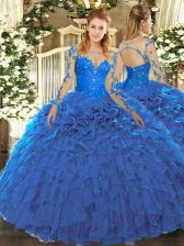 Long Sleeves Lace and Ruffles Lace Up Quinceanera Gowns