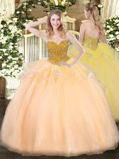 Designer Organza Sleeveless Floor Length Quinceanera Gown and Beading