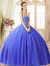Blue Sweetheart Lace Up Beading 15th Birthday Dress Sleeveless
