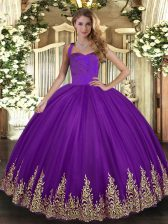 Pretty Purple Tulle Lace Up Halter Top Sleeveless Floor Length Vestidos de Quinceanera Appliques