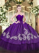 Embroidery Quince Ball Gowns Purple Zipper Sleeveless Floor Length