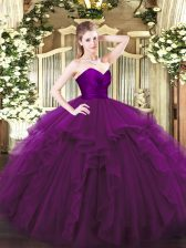 Floor Length Zipper 15th Birthday Dress Purple for Military Ball and Sweet 16 and Quinceanera with Ruffles