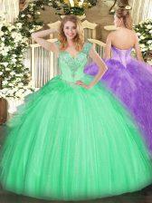 Cheap Sleeveless Lace Up Floor Length Beading Sweet 16 Dress